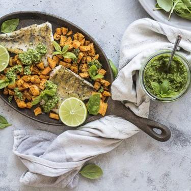 White Fish with Sweet Potato and Pesto Recipe | SideChef