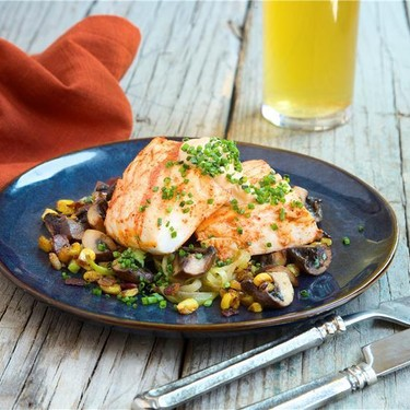 Halibut with Chayote with Bacon and Mushrooms Recipe   SideChef