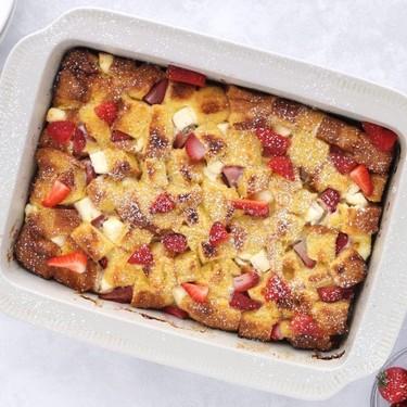 Strawberry and Cream Overnight French Toast Bake Recipe   SideChef
