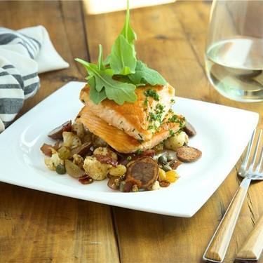 Seared Salmon with Roasted Cauliflower and Potato Recipe   SideChef