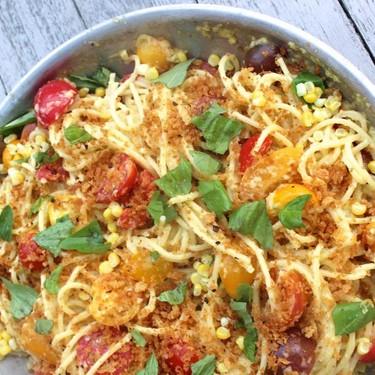 Spaghetti with Sweet Corn Pesto Recipe   SideChef