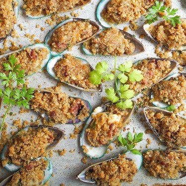 Mussels Casino with Bacon and Parmesan Recipe | SideChef