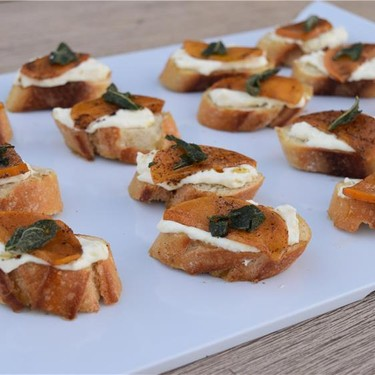 Brown Butter Persimmon and Ricotta Crostini Recipe   SideChef