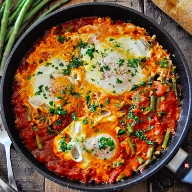 Spanish Eggs with Tomatoes and Asparagus Recipe   SideChef