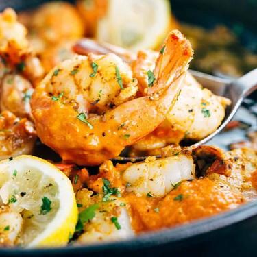Garlic Shrimp Skillet with Roasted Red Pepper Sauce Recipe   SideChef