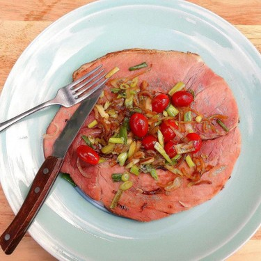 Sauteed Bone in Ham Steak with Onion and Tomato Recipe   SideChef