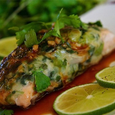 Rice Paper Wrapped Salmon with Hoisin Lime Sauce Recipe | SideChef