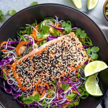 Sesame Salmon with Rice Noodle Salad Recipe | SideChef