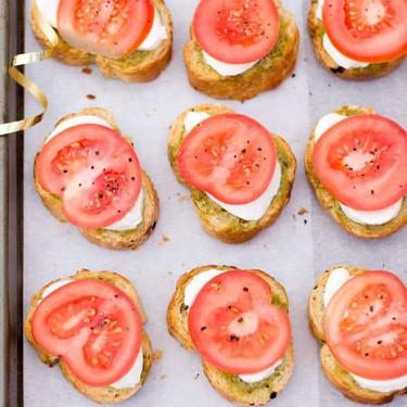 Tomato Mozzarella Pesto Crostini Recipe   SideChef
