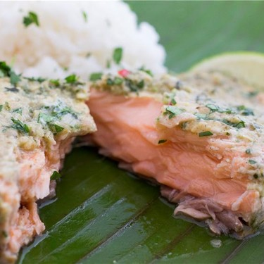 Coconut Curry Salmon in Banana Leaves Recipe   SideChef