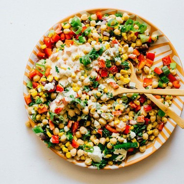 Chickpea Corn Salad with Yogurt Dressing Recipe   SideChef