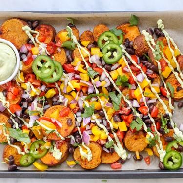 Vegan Sweet Potato Nachos with Avocado Crema Recipe | SideChef