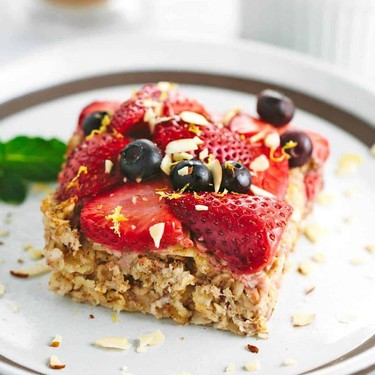 Baked Almond Oatmeal with Berry Topping Recipe | SideChef