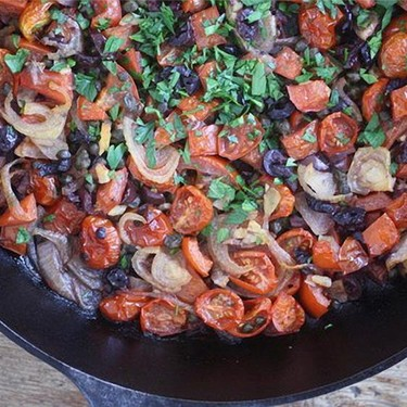 Roasted Cherry Tomato Puttanesca Recipe | SideChef