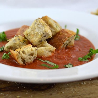 Tomato Soup with Cheesy Croutons Recipe | SideChef