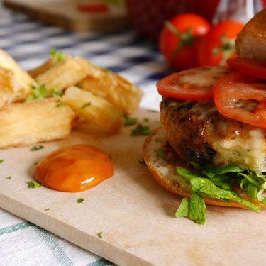 'Nduja and Black Olives Chicken Burger with Casava Chips Recipe   SideChef