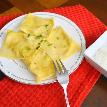 Pancetta and Pea Ravioli in Asiago Beurre Blanc Recipe | SideChef