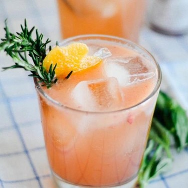 Grapefruit Bourbon Cocktail with Basil Syrup Recipe | SideChef