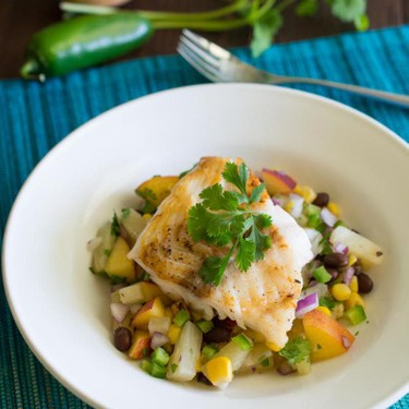 Seared Cod with Pineapple and Peach Salsa Recipe   SideChef