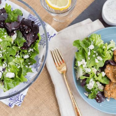 Baked Falafel with Dill Yogurt Sauce, Fresh Lettuce and Feta Recipe | SideChef