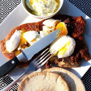 Veal Blade Steak with Poached Eggs, Tzatsiki & Pita (Breakfast of Champions) Recipe   SideChef