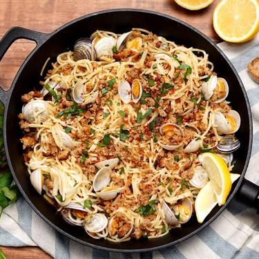 Clam Aglio e Olio with Garlic Bread Crumbs Recipe   SideChef