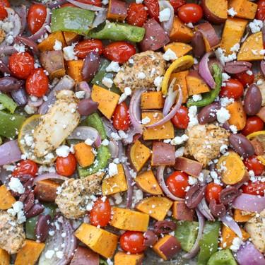 Mediterranean Sheet Pan Chicken and Sweet Potatoes Recipe | SideChef