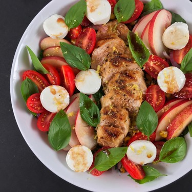 Spinach Caprese Salad with Peaches Recipe   SideChef