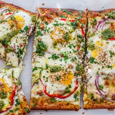 Sheet Pan Pesto Breakfast Pizza Recipe   SideChef