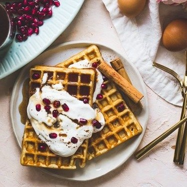 Crispy Buttermilk Waffles With Spiced Maple Syrup Recipe | SideChef