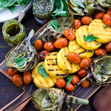 Grilled Artichokes & Polenta with Blistered Tomatoes Recipe | SideChef