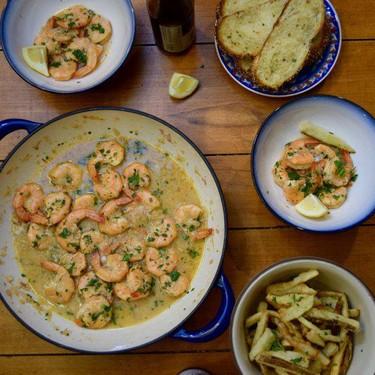 Shrimp with Garlic Beer Broth Recipe | SideChef