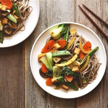 Stir-Fried Tofu with Baby Bok Choy, Peas, and Soba Recipe   SideChef