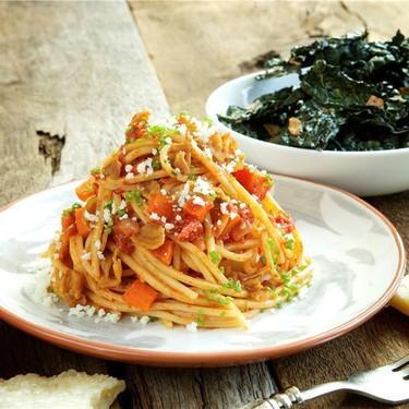 Spaghetti Chitarra with Aromatic Tomato Pancetta Recipe   SideChef