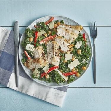 Chicken Kale Caesar Salad with Crunchy Chickpeas Recipe | SideChef
