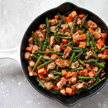 Asparagus Sweet Potato Chicken Skillet Recipe   SideChef