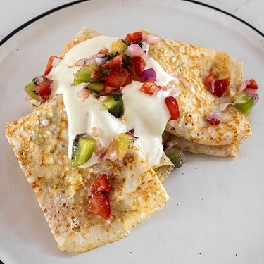 Yogurt Crepes with Savory Fruit Salsa Recipe   SideChef