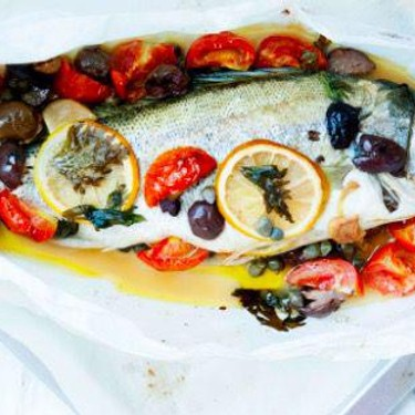 Parchment Paper Mediterranean Style Sea Bass Recipe   SideChef
