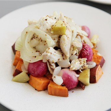 Sautéed Chicken & Apples with Roasted Sweet Potatoes Recipe   SideChef