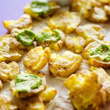 Smashed Potatoes with Avocado Pesto Recipe | SideChef