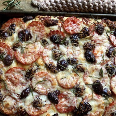 Cheesy Focaccia with Tomatoes & Olives Recipe | SideChef