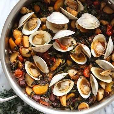 Steamed Clams with Chorizo, Tomatoes and Kale Recipe   SideChef
