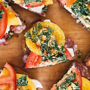 Toscano, Heirloom Tomato and Pesto Bruschetta Recipe   SideChef