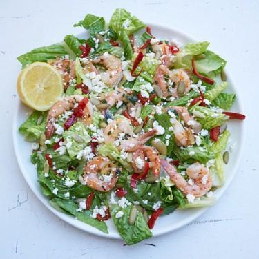 Shrimp Salad with Romaine, Peppers, and Lemon-Garlic Dressing Recipe | SideChef