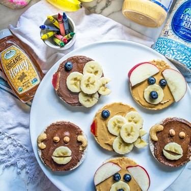 Animal Face Chocolate and Peanut Butter Rice Cakes Recipe   SideChef