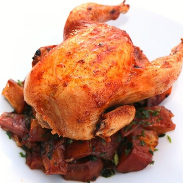 Roast Cornish Hen with Caramelized Onions and Potatoes Recipe   SideChef