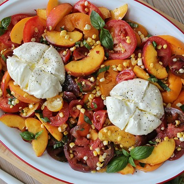Tomatoes, Peaches, and Corn with Burrata Recipe | SideChef