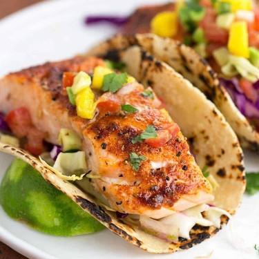 Maple Chipotle Salmon Tacos with Mango Salsa Recipe   SideChef