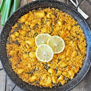 Spanish Paella with Cod and Scallions Recipe   SideChef