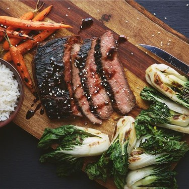 Grilled Marinated Flank Steak with Choi Sum Recipe | SideChef